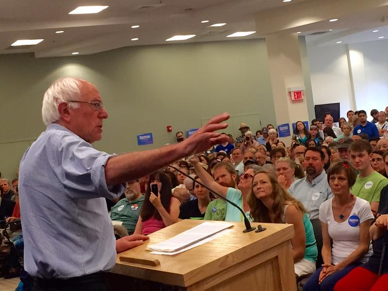 Bernie Sanders addresses a packed room at Southern New Hampshire University Saturday
