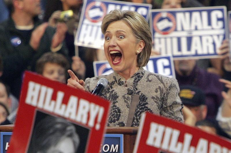 Hillary Clinton and supporters after her N.H. Primary win in 2008