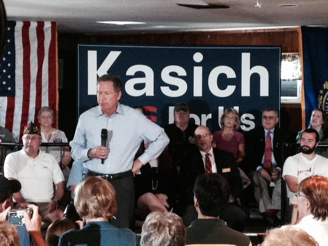Ohio Gov. John Kasich, seen at a campaign event in Derry this week, has watched his fortunes rise in recent weeks, and New Hampshire will likely play a key role in his campaign's fortunes.