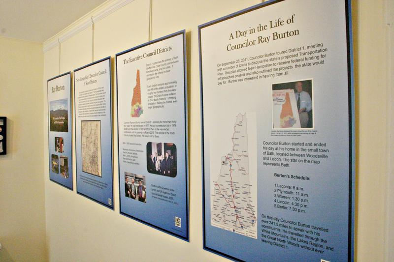 History students from Plymouth State University researched Burton's life and produced a series of informational panels.