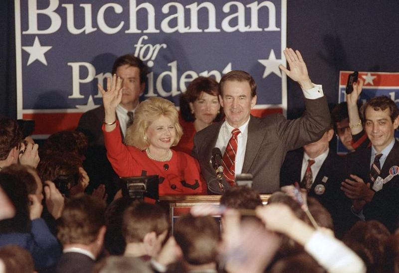 Republican presidential hopeful Pat Buchanan and his wife Shelley in 1992.