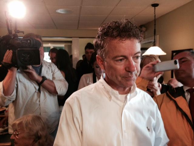 Sen. Rand Paul of Kentucky talked with N.H. voters at the Corner View Restaurant in Concord on Tuesday.