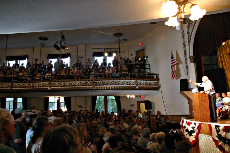 Vermont Sen. Bernie Sanders speaks to a full house at the LIttleton Opera House on Monday, August 24.