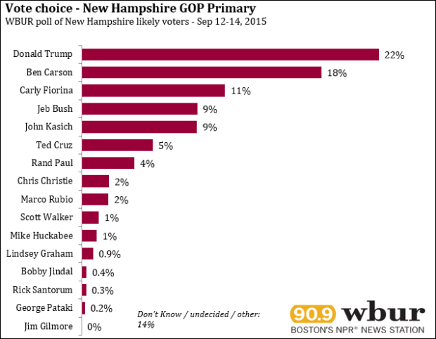 The latest poll of the New Hampshire Republican priamry race has -- surprise -- Donald Trump in first place at 22 percent.