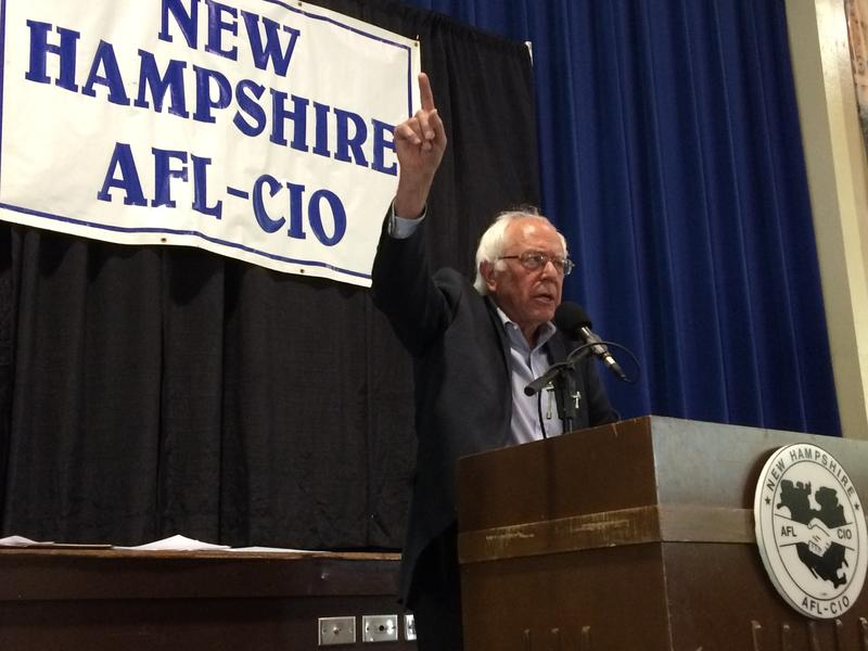 Vermont Senator Bernie Sanders addresses a crowd of union members in Manchester on Labor Day.