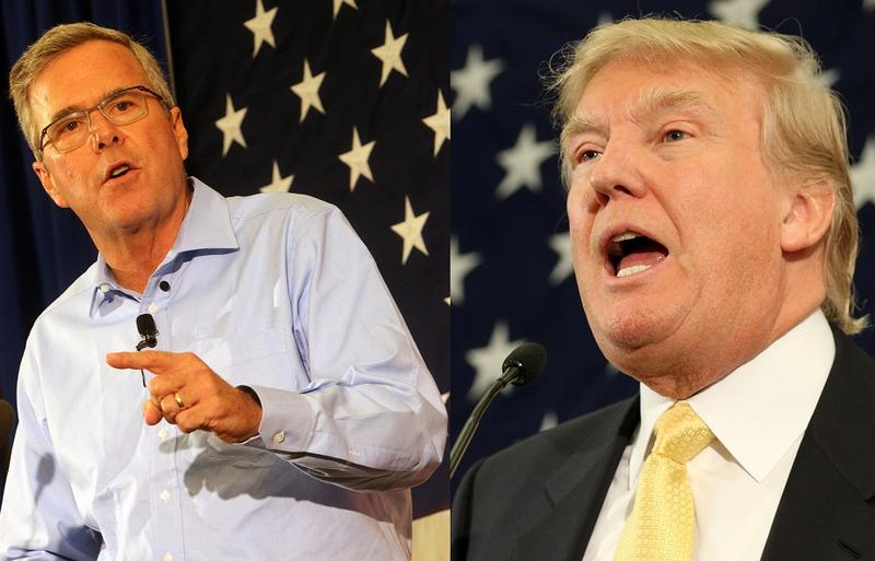Jeb Bush and Donald Trump speak at a Republican party event in Nashua, N.H. in April
