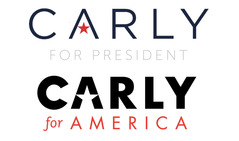 Logos for Carly Fiorina's campaign (top) and the Super PAC supporting her (below). The two organizations have been crossing paths regularly on the New Hampshire primary trail.