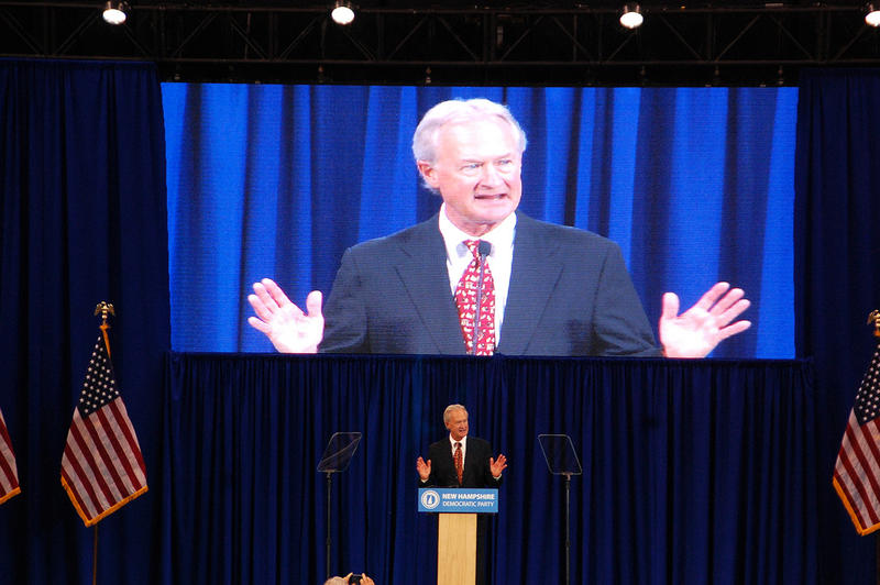 Former Rhode Island Governor Lincoln Chafee speaks at the the New Hampshire Democratic Party convention in Manchester, September 19, 2015.