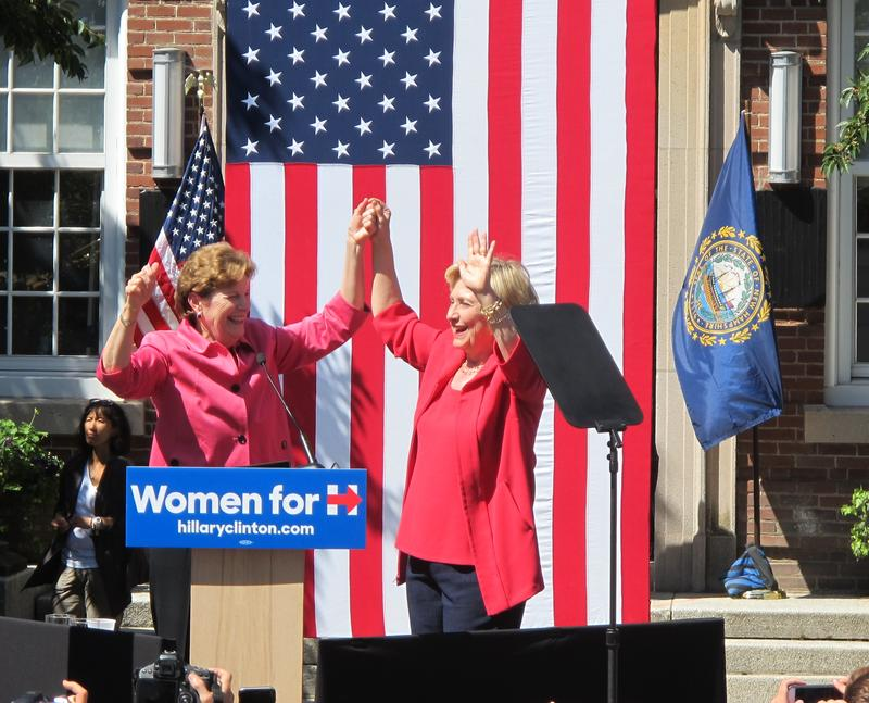 Hillary Clinton accepts Senator Jeanne Shaheen's endorsement in front of Portsmouth Middle School