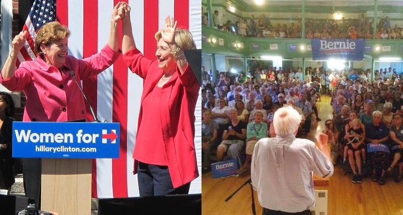 U.S. Senator Jeanne Shaheen endorses Hillary Clinton For President. Bernie Sanders draws a huge crowd at a N.H. town hall event. The two candidates have taken very different approaches to gathering public support in New Hampshire.