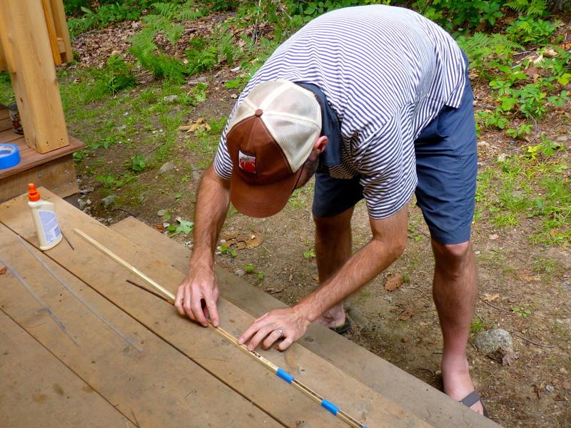 Wyatt glues the core to a board...