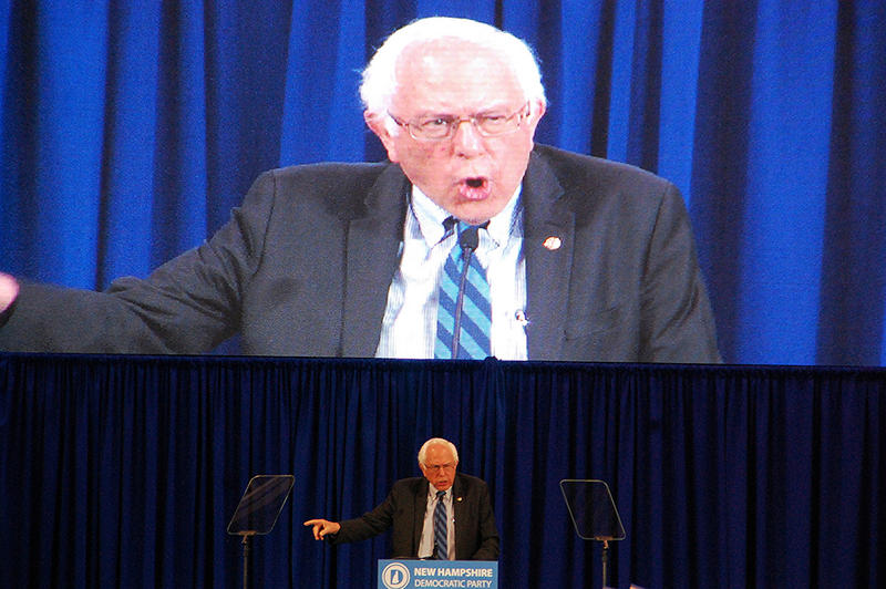Vermont US Senator Bernie Sanders speaks at the the New Hampshire Democratic Party convention in Manchester, September 19, 2015.