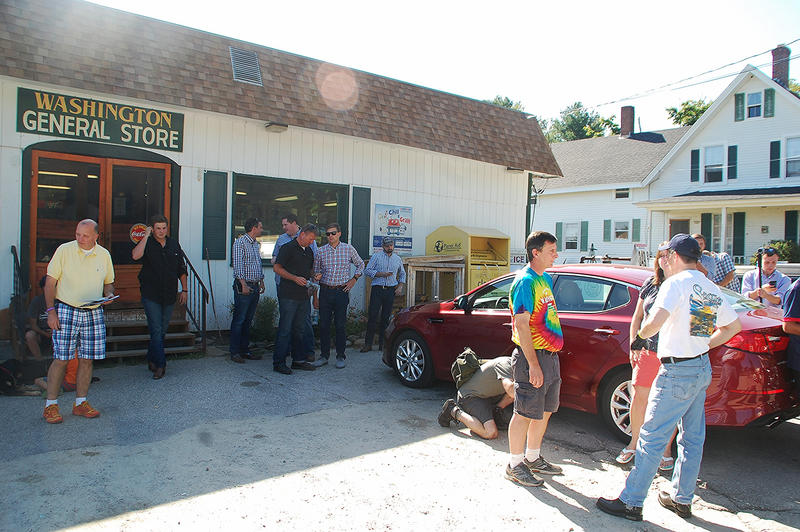 Wisconsin Governor Scott Walker (right) stops by the Washington General Store, September 6, 2015.