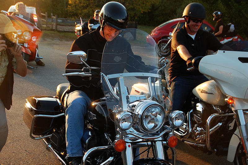 Wisconsin Governor Scott Walker prepares to ride from New Hampton to Plymouth, New Hampshire, September 6, 2015.