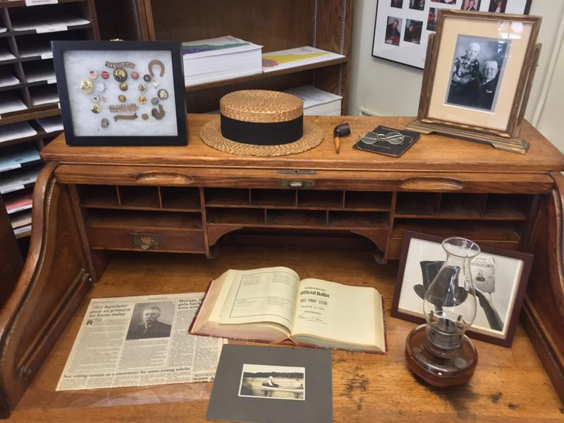 The desk of Stephen Bullock, the state representative who founded the New Hampshire presidential primary, is on display in Secretary of State Bill Gardner's office during the primary filing period.