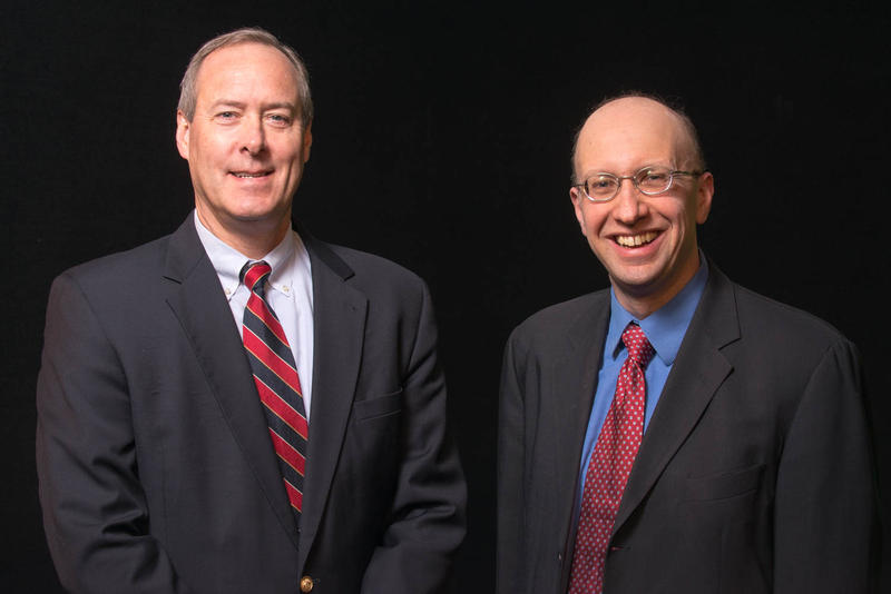 Andy Smith (L) and Dante Scala. The pair are perhaps the best known, and most quoted, commentators on New Hampshire's political scene.