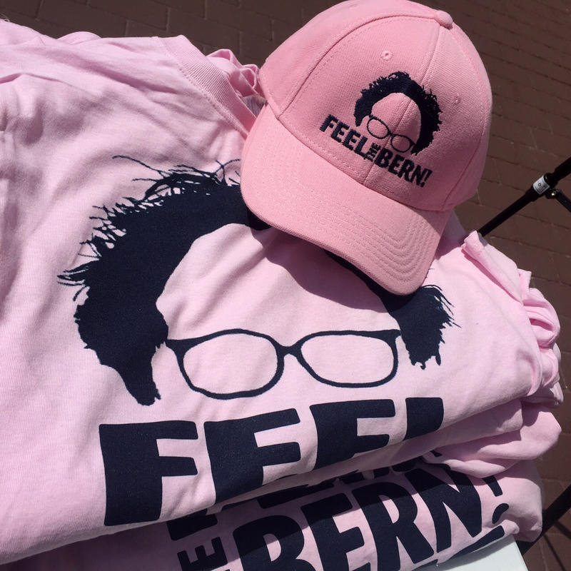 Sanders merchandise for sale at a campaign event this summer.