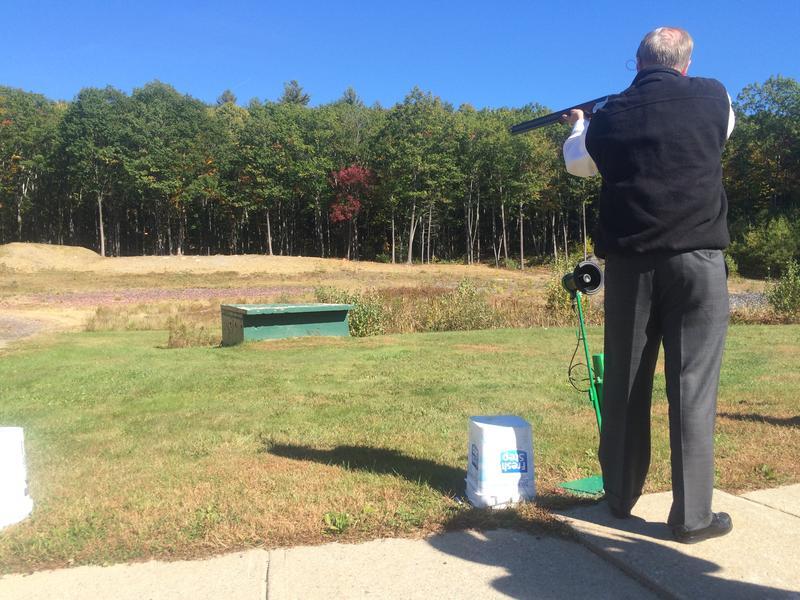 Lindsey Graham shows off his South Carolina marksmanship at the Fish & Game Club in Keene.
