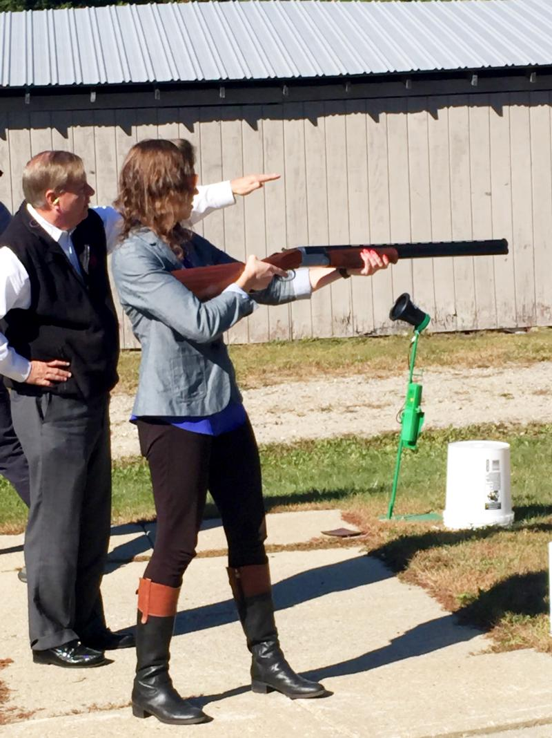 Getting a shooting lesson in Keene from South Carolina Senator Lindsey Graham.