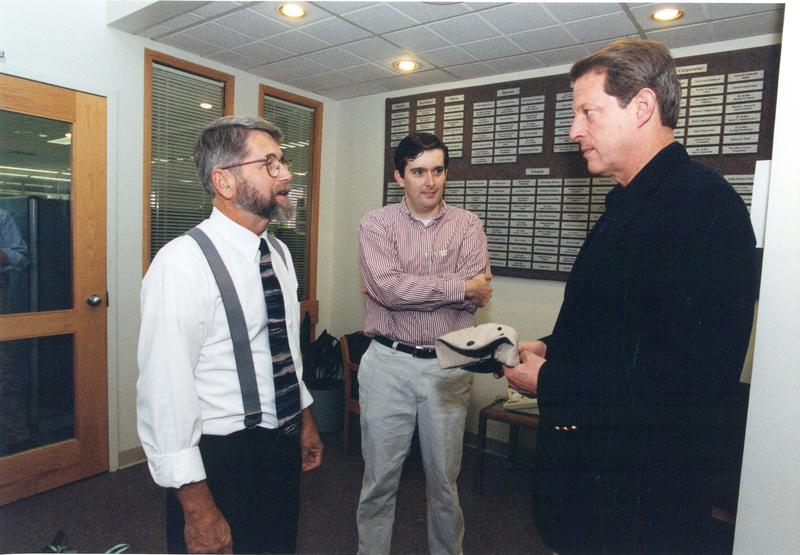 NHPR president Mark Handley & Exchange producer Scott McPherson talk with Al Gore