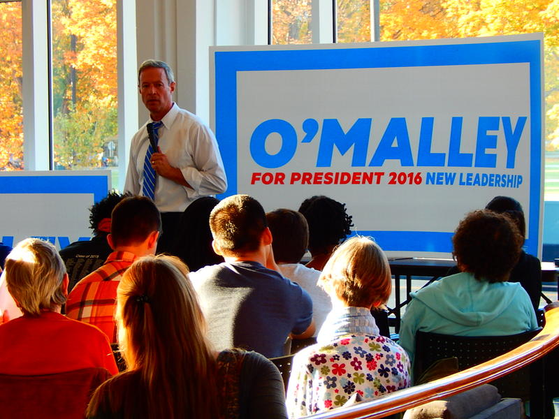 Martin O'Malley spoke to a packed crowd at Dartmouth College on Friday.