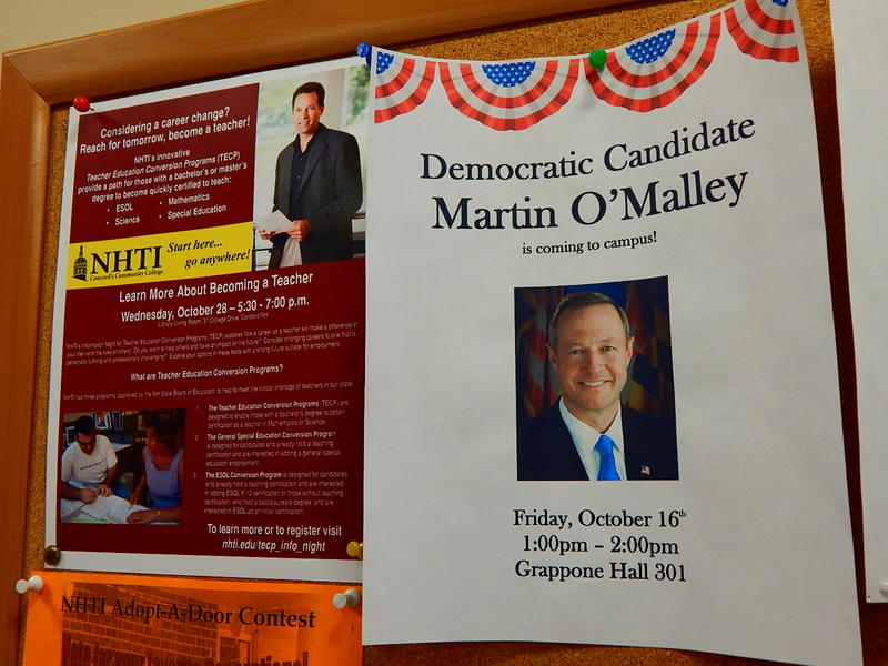 Martin O'Malley spoke to students and faculty at NHTI in Concord Friday afternoon.