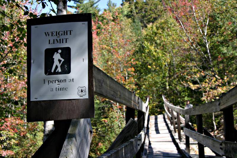 Forest officials are so worried about the condition of the Thoreau Falls Bridge they urge only one person cross at a time.
