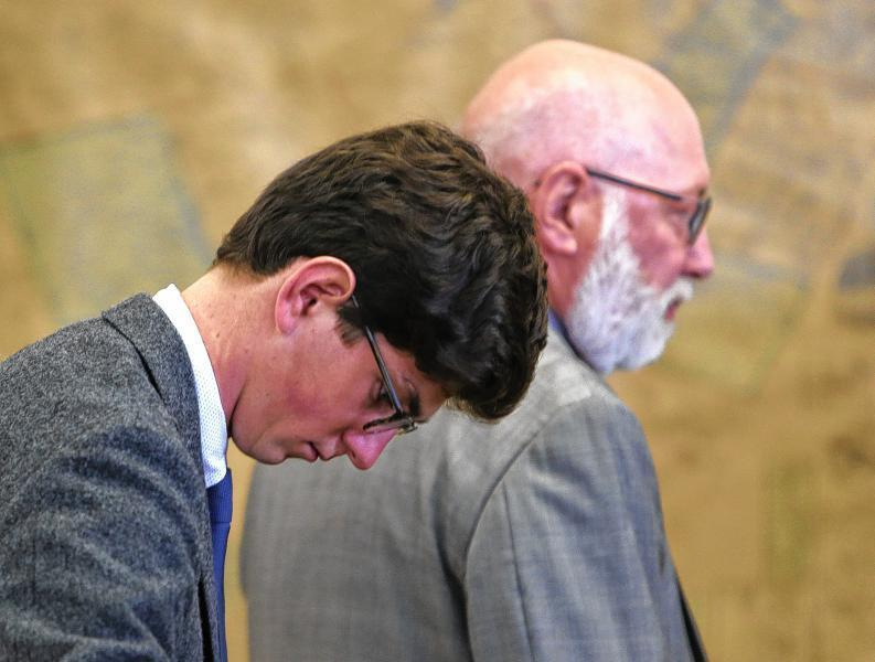 Owen Labrie, 19, next to his lawyer J.W. Carney while on trial in August.