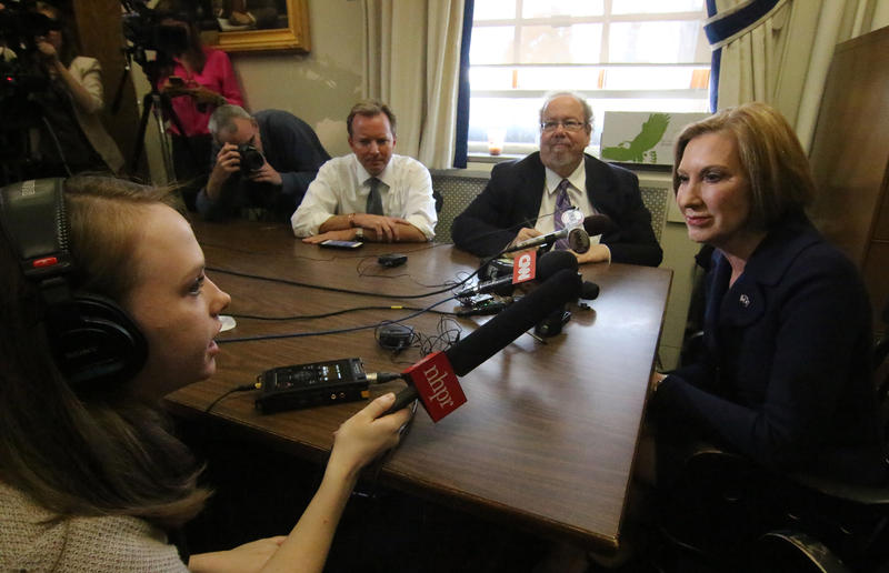 Carly Fiorina speaks with NHPR's Casey McDermott at the N.H. Statehouse on Thursday
