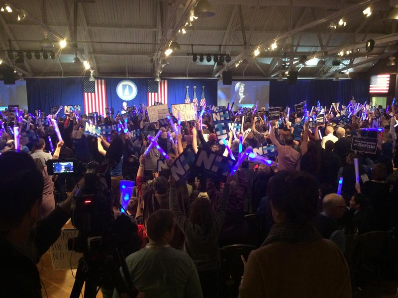 Clinton campaigners handed out enormous glowsticks for her speech that wrapped up the evening