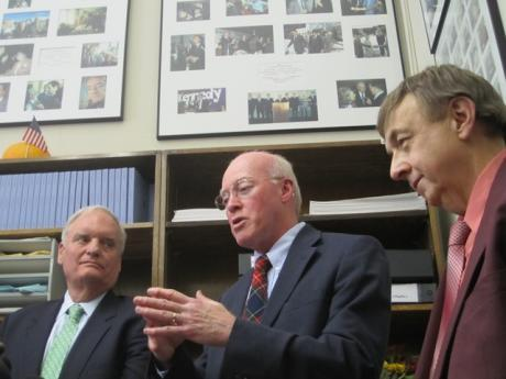 New Hampshire Secretary of State Bill Gardner (center) will play host to presidential candidates over the course of the next two weeks, as they register their names for the state's primary ballot.