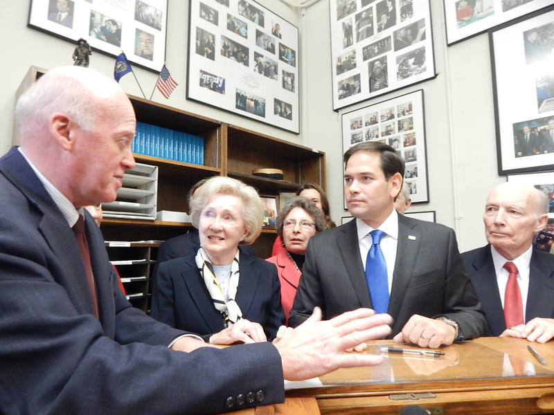 On Thursday Sen. Marco Rubio (right) officially entered the New Hampshire Republican Presidential Primary, filing paperwork with Secretary of State Bill Gardner (left).