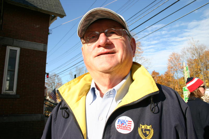 Guy Woodland stands outside a polling station after voting in Concord's municpal election, November 3, 2015.