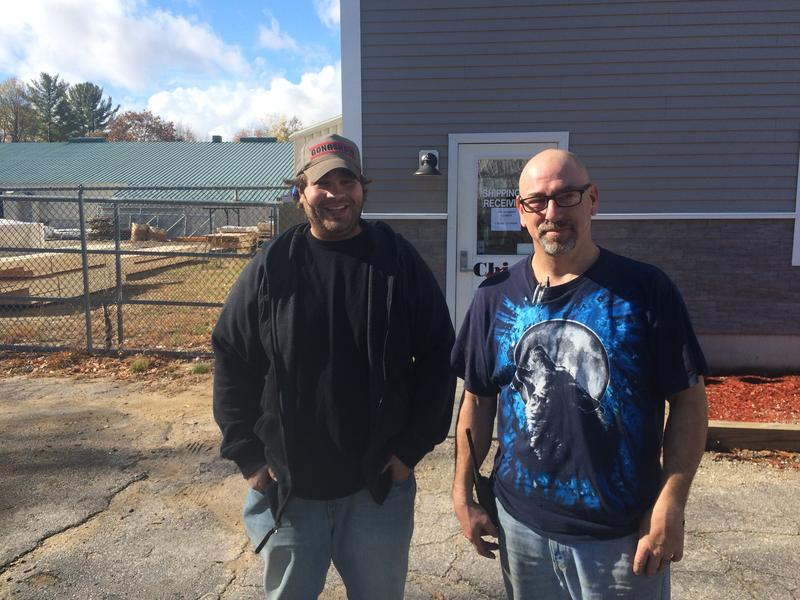 "Mike Melnick [left] and Leo LeSage work at Chick Lumber. ""Yeah, politics is probably the last thing that comes to my mind,"" Mike says."