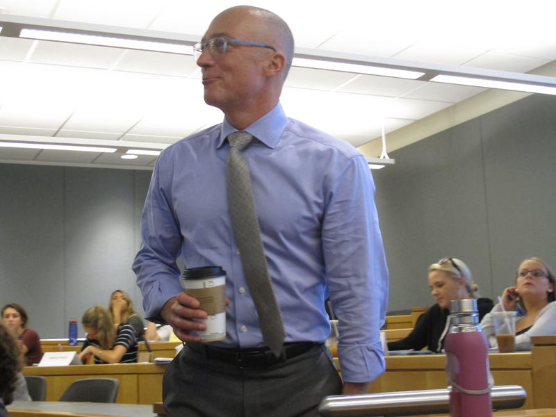Dan Innis, seen here teaching a marketing class at UNH, is set to make a second run for Congress against incumbent Republican Frank Guinta. Innis, also a Republican, lost to Guinta in last year's GOP primary.
