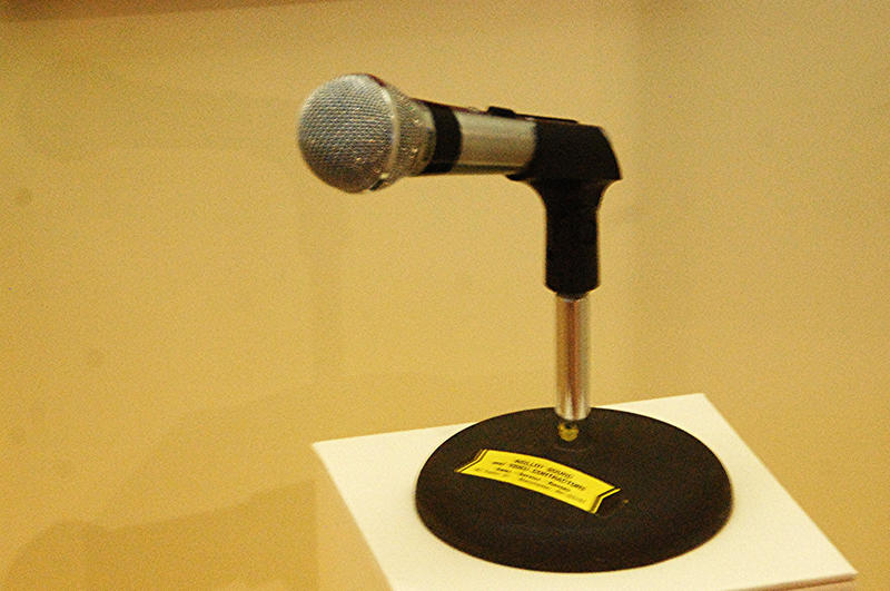 "The famous Ronald Reagan ""I am paying for this microphone"" microphone, on display at the Reagan Presidential Library in Simi Valley, California."