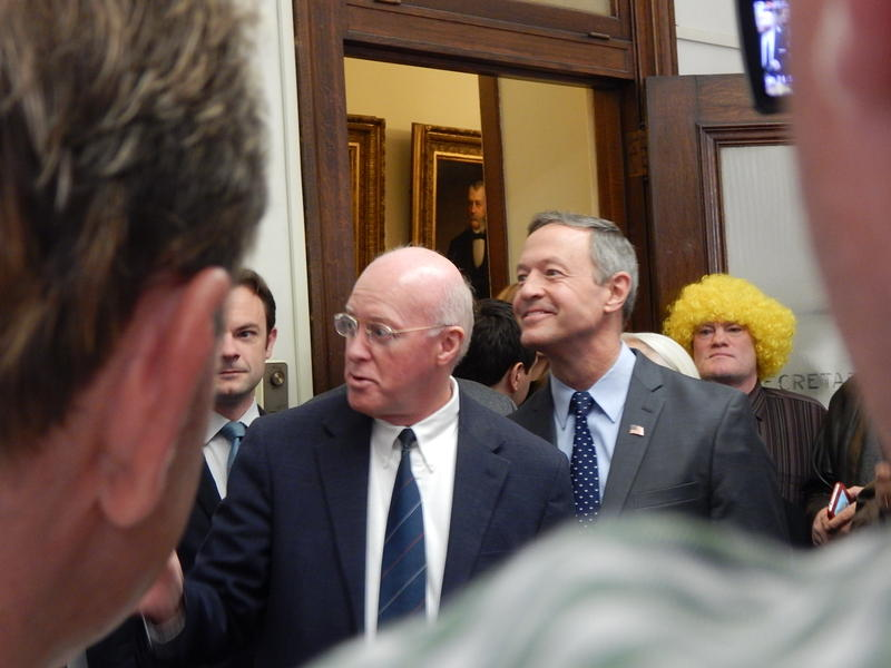 Democratic candidate Martin O'Malley arrived at Bill Gardner's office at 8 a.m. on Wednesday to file.