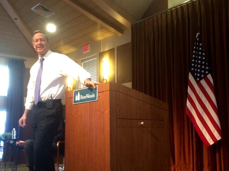 Martin O'Malley spoke at the RiverWoods Retirement Community in Exeter on Monday.