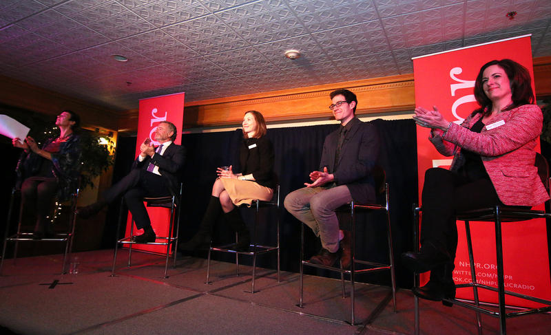 The panel at last year's State of the Newsroom: From left to right, Exchange Host Laura Knoy, NPR CEO Jarl Mohn, NHPR News Director Sarah Ashworth, Environment Reporter Sam Evans-Brown, and Digital Director Rebecca Lavoie
