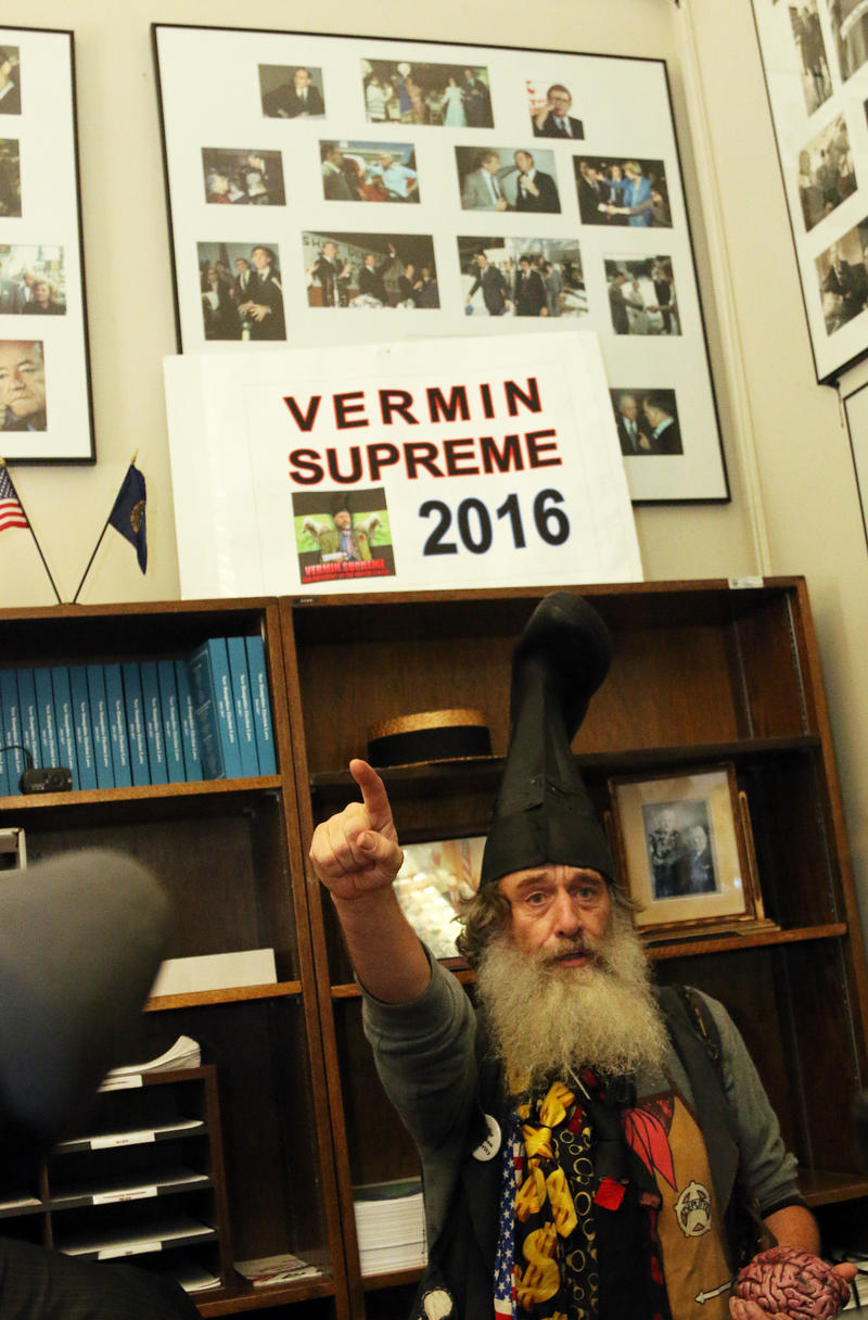 Vermin Supreme is known for wearing a giant boot on his head whenever he files in N.H.