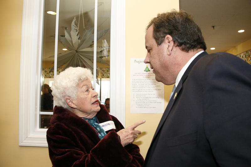 Christie shares a warm greeting with Mary Griffin, a state rep from Windham and a fixture at GOP events for decades.