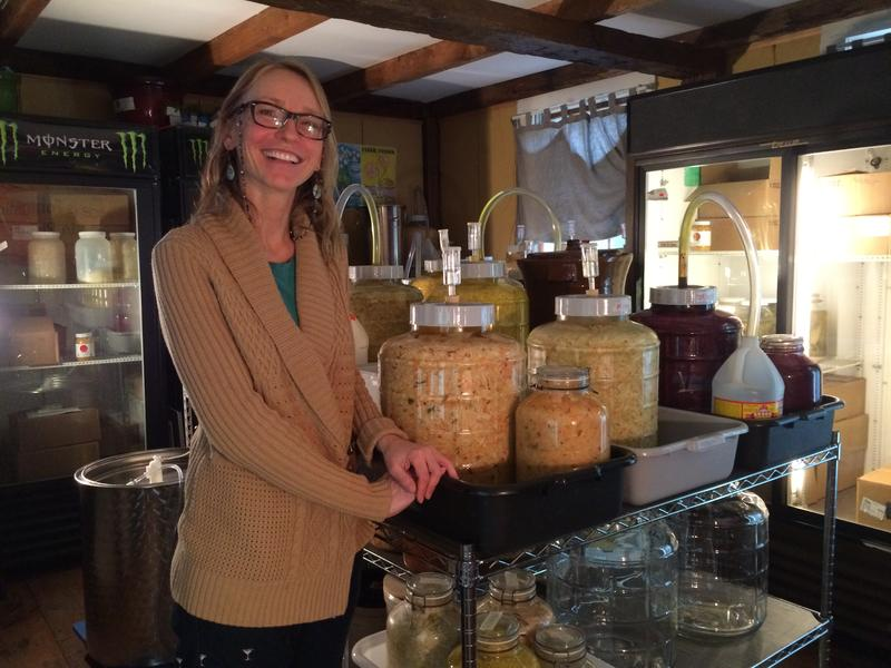 """Stephanie Zydenbos with her various """"vessels"""" full of fermenting vegetables."""