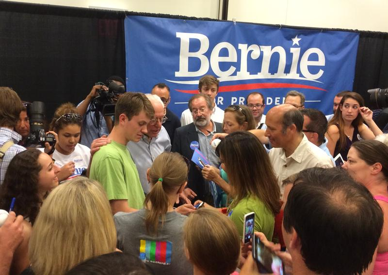 Sanders speaks with supporters at an event earlier this year at Southern New Hampshire University.