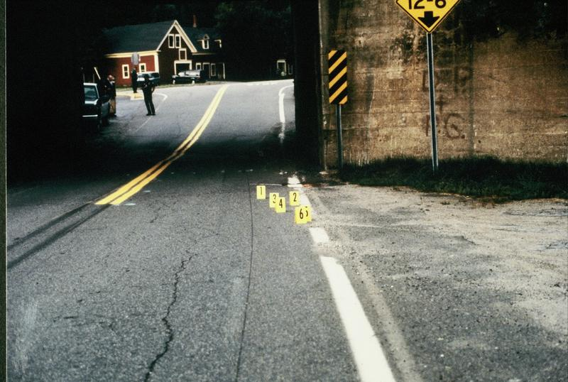 This is Bloomfield, Vt,, where Carl Drega ambushed Fish & Game officer Wayne Saunders. The yellow tents mark the locations of ejected shells from Drega's AR-15.
