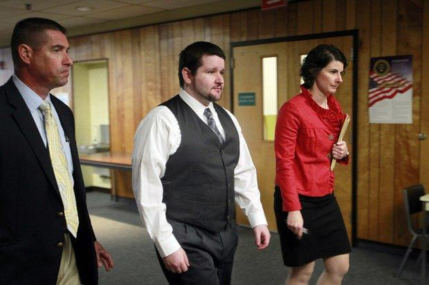 The New Hampshire Public Defender's Melissa Davis, right, argued on behalf of defendant Seth Mazzaglia, center, during his high-profile murder case in 2014.