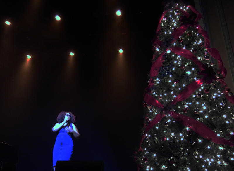 Kaina Mondesir of N.H. performed three Christmas carols before Candy Carson took the stage.