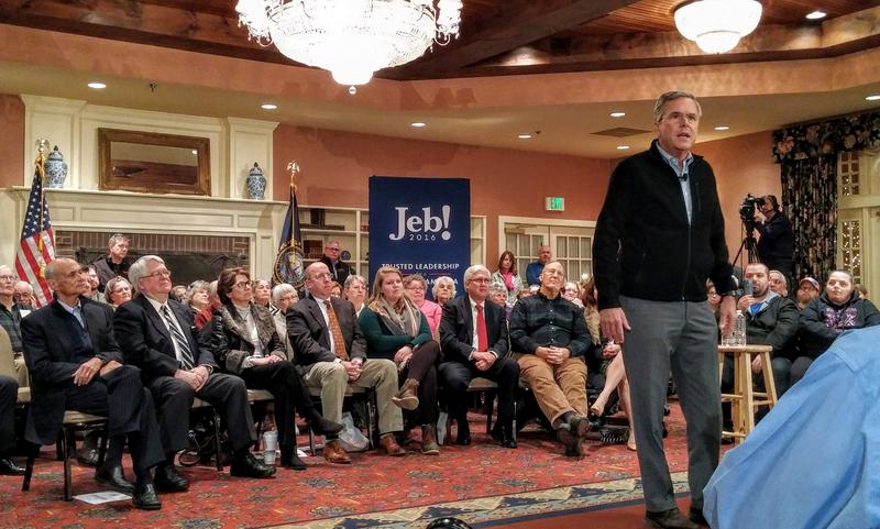 Republican presidential candidate Jeb Bush has pinned his campaign's future on a good showing in New Hampshire. He spoke to voters in Meredith Wednesday evening.