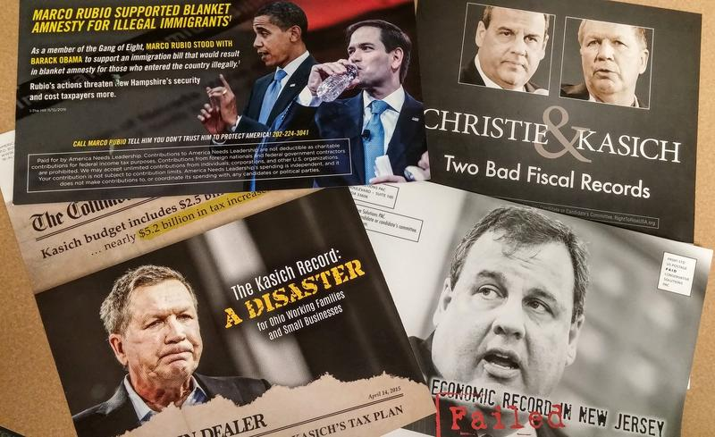 Campaign mailers have largely consisted of attacks by Republican candidates - or their Super PACs - against other Republicans. And much of the attacks have been among the mainstream candidates in the field.