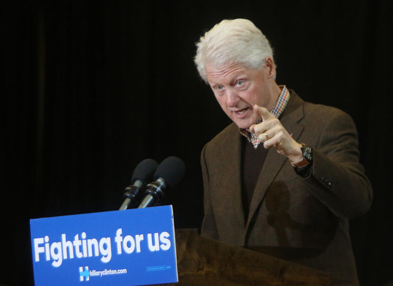 On Monday Bill Clinton held his first campaign event in New Hampshire this primary for his wife in Nashua.
