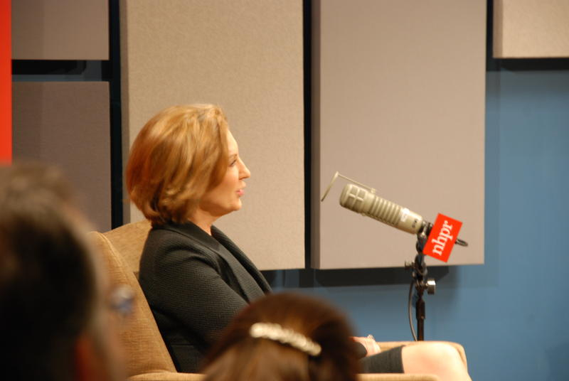 Carly Fiorina answers a question at a live NHPR forum on January 7, 2016